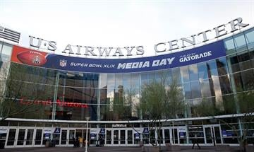 PHOENIX, AZ - JANUARY 27:  The exterior of U.S. Airways Center before Super Bowl XLIX Media Day Fueled by Gatorade on January 27, 2015 in Phoenix, Arizona.  (Photo by Christian Petersen/Getty Images) By Christian Petersen