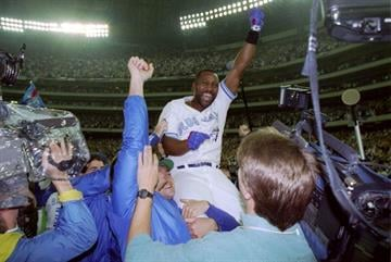 23 Oct 1993:  Firrst baseman Joe Carter of the Toronto Blue Jays celebrates after the World Series against the Philadelphia Phillies at the Toronto Sky Dome in Toronto, Canada. Mandatory Credit: Rick Stewart  /Allsport By Rick Stewart