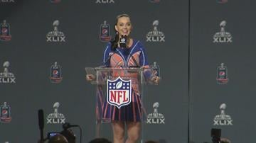 Katy Perry answers questions at a pregame news conference for NFL Super Bowl XLIX on Thursday, Jan. 29, 2015. By Jennifer Thomas