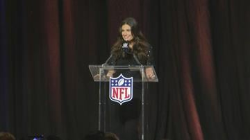 Idina Menzel answers questions at a pregame news conference for NFL Super Bowl XLIX on Thursday, Jan. 29, 2015. By Jennifer Thomas