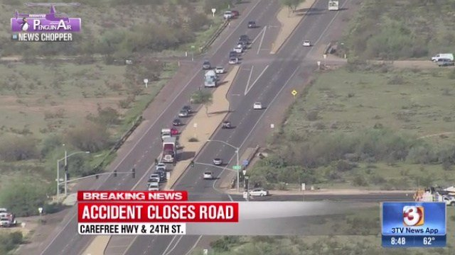 A motorcycle crashed into a pickup truck on Carefree Highway at 24th Street in Phoenix. (Source: 3TV)