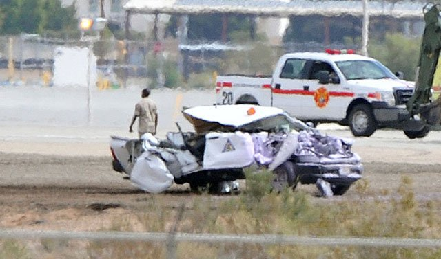 """Officials said the crash """"impacted a government vehicle"""" and that's what injured the Marine. (Source: yumasun.com)"""