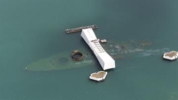 The USS Arizona Memorial in Pearl Harbor, Hawaii, May 16, 2001. Photo by Kevin Winter/Touchstone Pictures/Getty Images. By Kevin Winter
