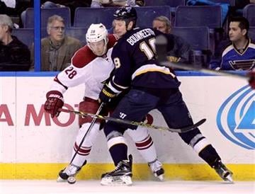 St. Louis Blues' Jay Bouwmeester (19) battles Arizona Coyotes' Lauri Korpikoski (28) for the lose puck in the first period of an NHL hockey game, Tuesday, Feb. 10, 2015, in St. Louis. (AP Photo/Tom Gannam) By Tom Gannam