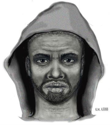 Sketch of suspect who approached the vehicle and asked the victims about drugs By Jennifer Thomas