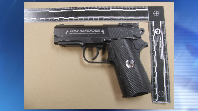 The actual BB gun replica of a Colt Defender 1911 semi-automatic pistol used in this incident. (Source: Mohave County Sheriff's Office)