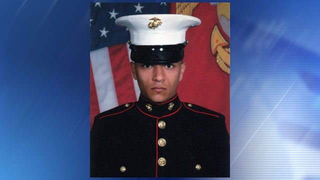 This photo provided by the U.S. Marines shows Lance Cpl. Anthony T. DuBeau. The Marine Corps Air Station in Yuma DuBeau, 23, died Wednesday, March 11, 2015, from injuries he suffered after a T-59 Hawk crash-landed. (Source: AP Photo/U.S. Marines)
