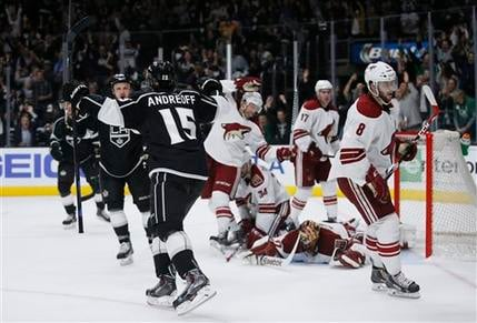 Los Angeles Kings left wing Andy Andreoff celebrates scoring during the second period of an NHL hockey game, Monday, March 16, 2015, in Los Angeles. (AP Photo/Danny Moloshok)