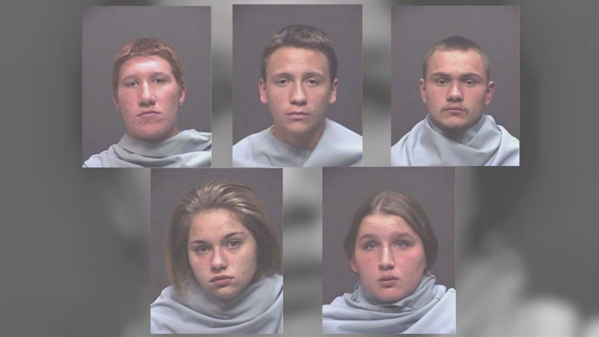 Top: Andrew Totten, 15, Gabriel Quiroga, 15, and Christopher Gibson, 18;  Bottom: Anastasia Lakin and Jessica Good, both 17 (Source: Tucson Police Department)
