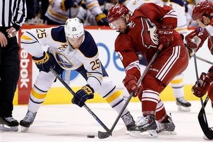 Buffalo Sabres' Mikhail Grigorenko (25), of Russia, battles Arizona Coyotes' Sam Gagner (9) for the puck after a face-off during the first period. (Source: AP Photo/Ross D. Franklin)