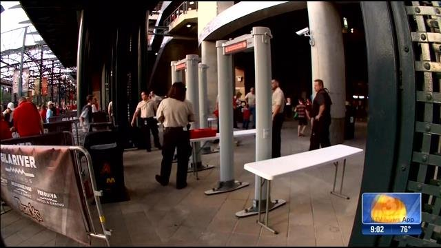 Metal detectors are in place at Chase Field. (Source: KPHO/KTVK)
