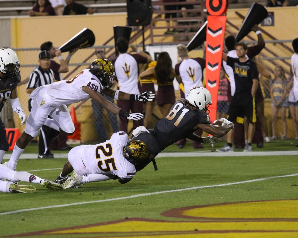 Gary Chambers scores a TD during ASU's 2015 spring game (ASU Athletics)