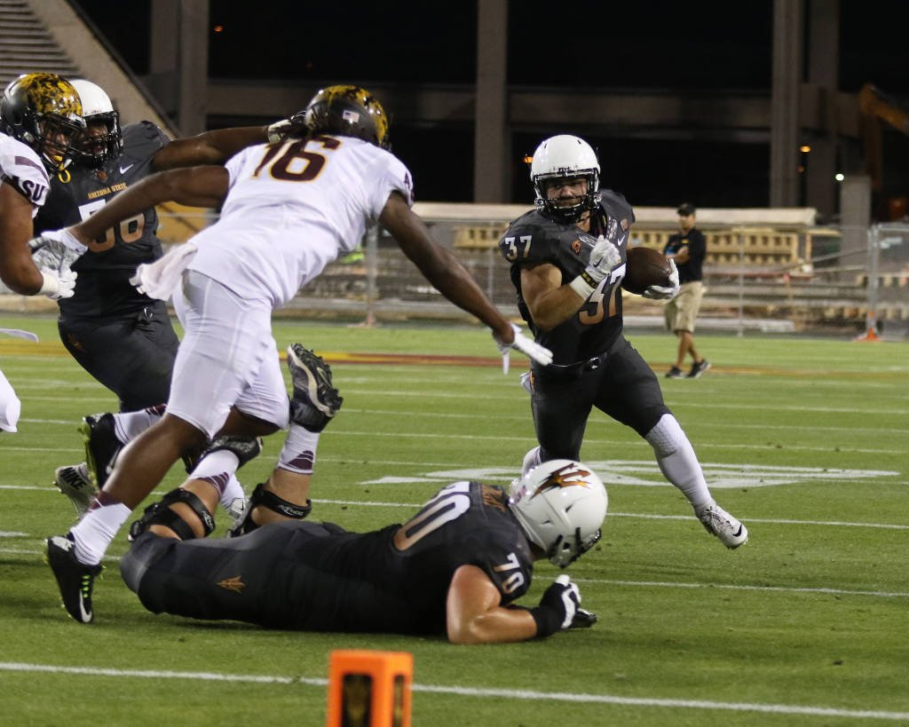 Brimhall runs during ASU's spring game (ASU Athletics)