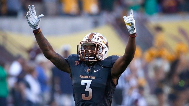 Arizona State defensive back Damarious Randall (3) celebrates during the final minute of the second half of an NCAA college football game against Notre Dame, Saturday, Nov. 8, 2014, in Tempe, Ariz. Arizona State won 55-31. (AP Photo/Matt York)