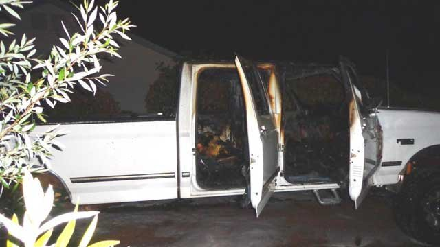 Authorities said this Ford F-350 was set on fire in Prescott Valley. (Source: Yavapai County Sheriff's Office)