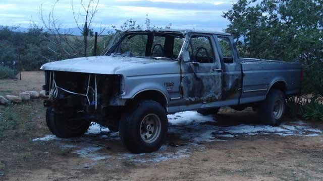 Authorities said someone set fire to this Ford F-250 in Dewey. (Source: Yavapai County Sheriff's Office)