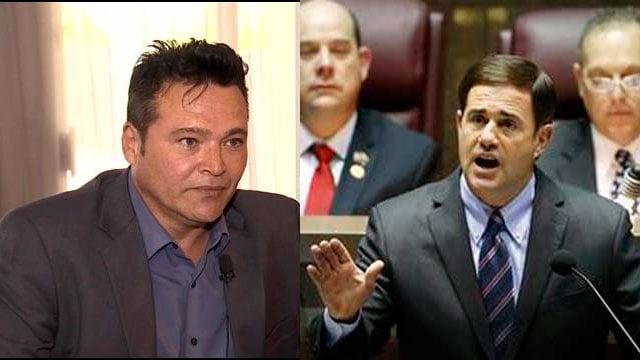 Shawn Marquez (left), Gov. Doug Ducey (right)