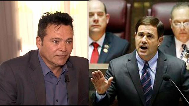 Shawn Marquez (left), Gov. Doug Ducey (right)