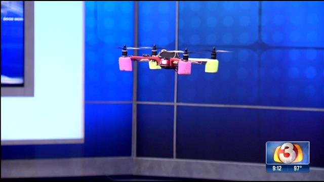 3TV director Hector Holquin is an avid drone pilot and brought his drone into the studio. (Source: 3TV)