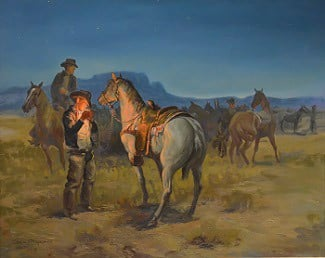 Crack of Dawn on a Cow Camp by George Phippen (Source: Phippen Museum)