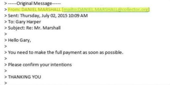 Email to Gary Harper from DanielMarshall@Collector.Org (Source: 3TV)