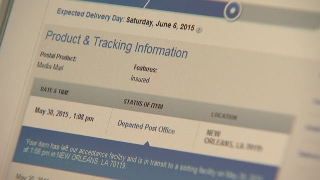 Electronic tracking data shows the package never left New Orleans. (Source: 3TV)