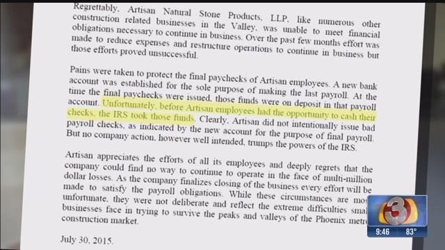 A lawyer for the now defunct company said the IRS seized money intended for the payroll before employees cashed their checks. (Source: 3TV)