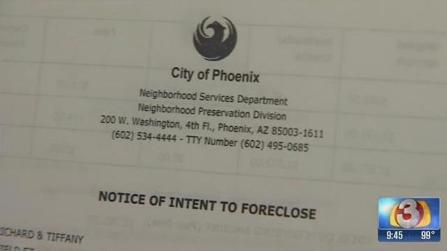The City of Phoenix notified the Halsteads of its intent to foreclose, giving the couple 10 days to pay up or leave their home. (Source: 3TV)