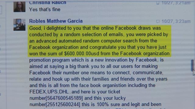 More than one person has fallen for the Facebook lottery scam. (Source: 3TV)