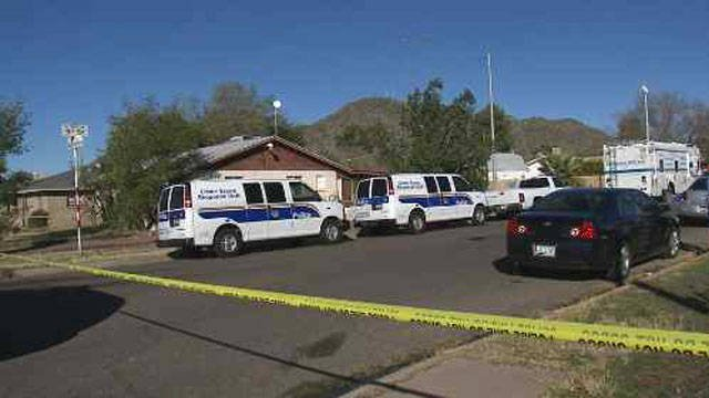 Police swarmed the home where Miller lives in the 6800 block of Buckeye Road. (Source: KPHO/KTVK)