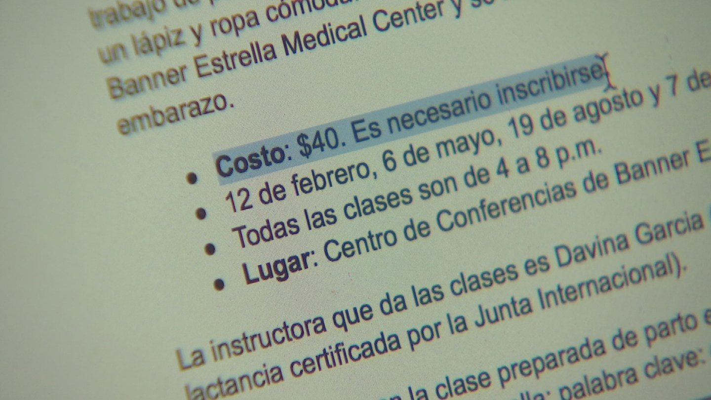 Banner Estrella Medical Center looked into the discrepancy and said it was an error, and that the Spanish class is not even available right now. (Source: 3TV)