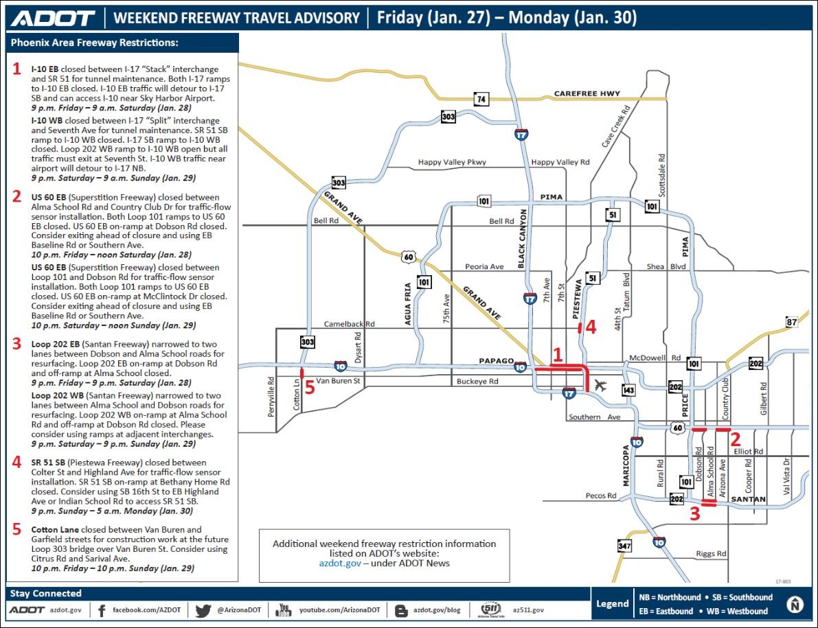 Traffic Map Phoenix Az.Adot Weekend Freeway Traffic Advisory Jan 27 30 Kfve K5 Hawaii