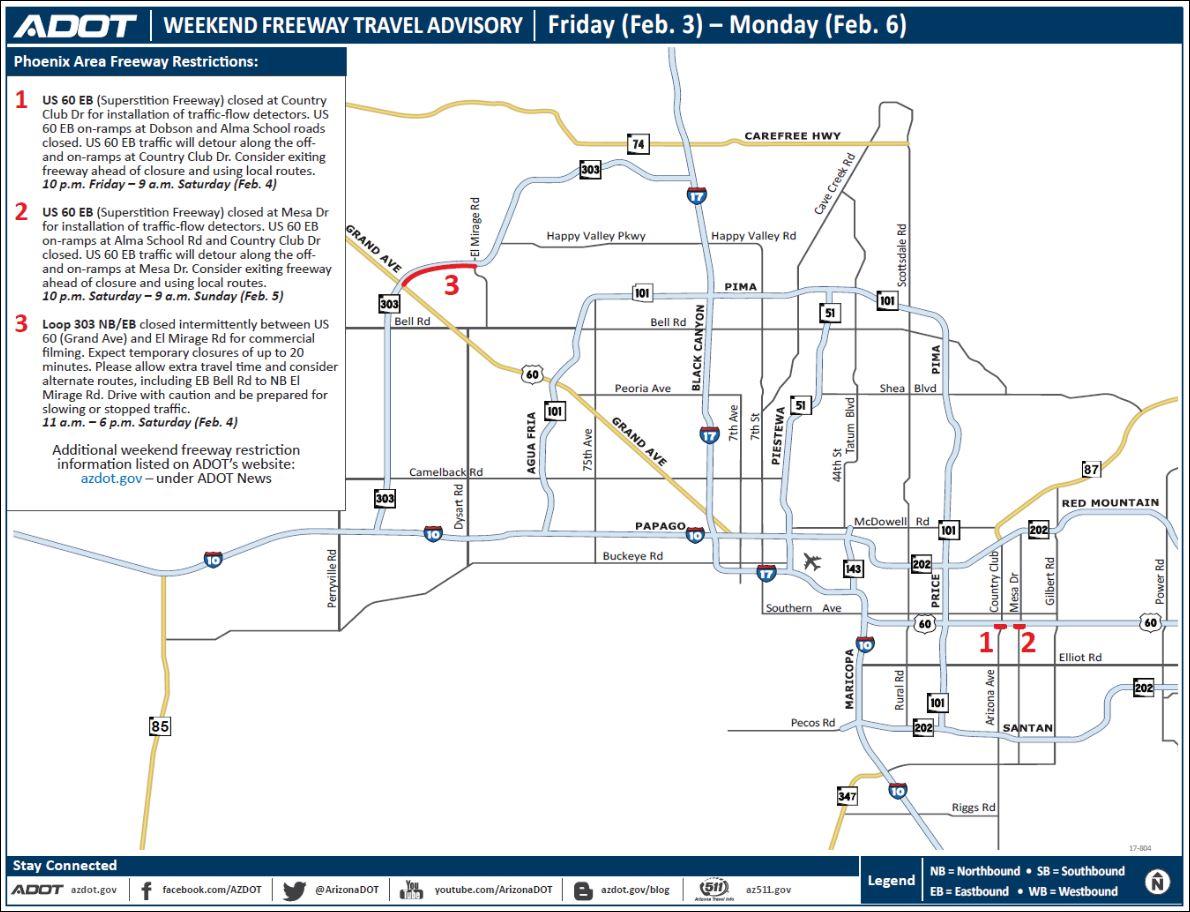 ADOT Weekend Freeway Traffic Advisory Feb TV CBS - I drive us closure map