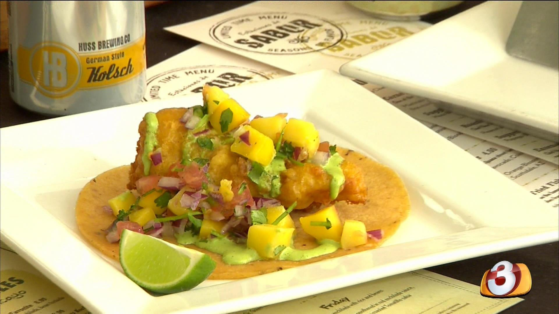 Pico de mango and ensenada fried fish taco a la carte for Fish grill pico