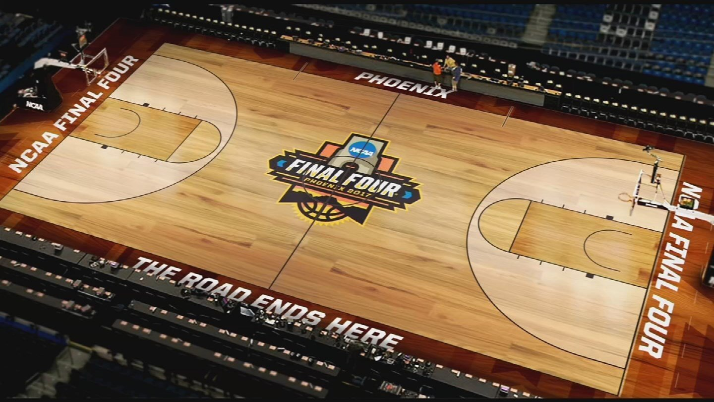 final four floor installed at uop stadium arizona 39 s family. Black Bedroom Furniture Sets. Home Design Ideas