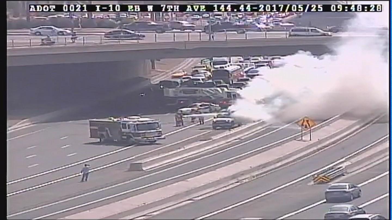Vehicle fire stops lanes on i 10 in phoenix 3tv cbs 5 for Arizona department of transportation motor vehicle division phoenix az