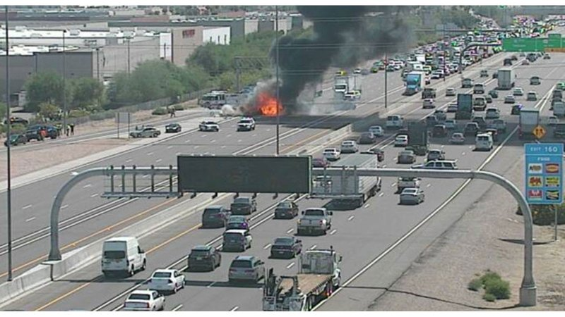 Fiery crash closes wb i 10 for several hours in chandler for Department of motor vehicles chandler az