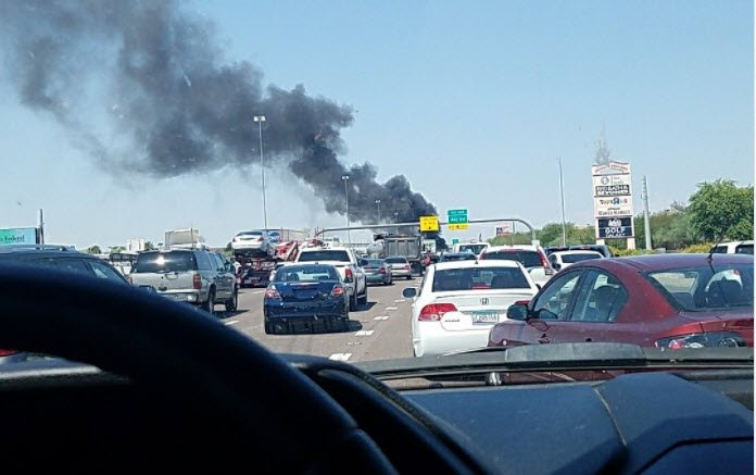 Fiery crash closes wb i 10 for several hours in chandler for Department of motor vehicles chandler arizona