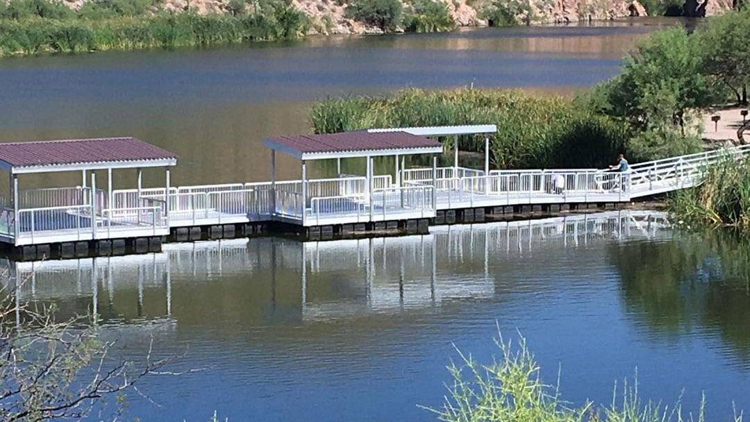 Canyon lake s new fishing pier now open arizona 39 s family for Canyon lake az fishing