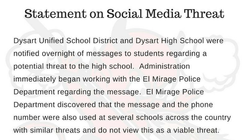 Dysart High School in El Mirage threatened on Snapchat