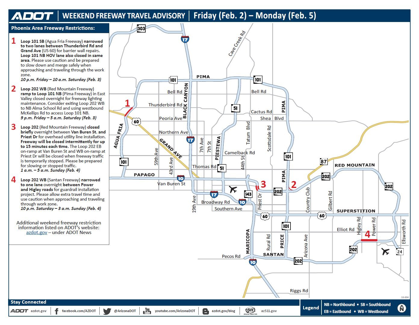 adot s weekend freeway travel advisory feb 2 5 arizona 39 s family. Black Bedroom Furniture Sets. Home Design Ideas
