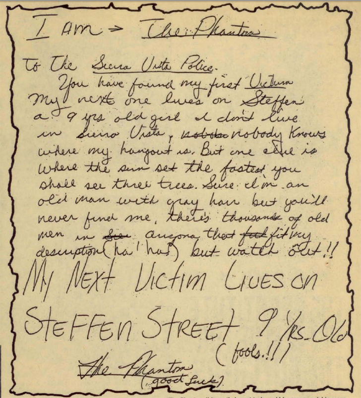The letter that was written by The Phantom would become a key piece of evidence in the investigation. (Source: 3TV/CBS 5)