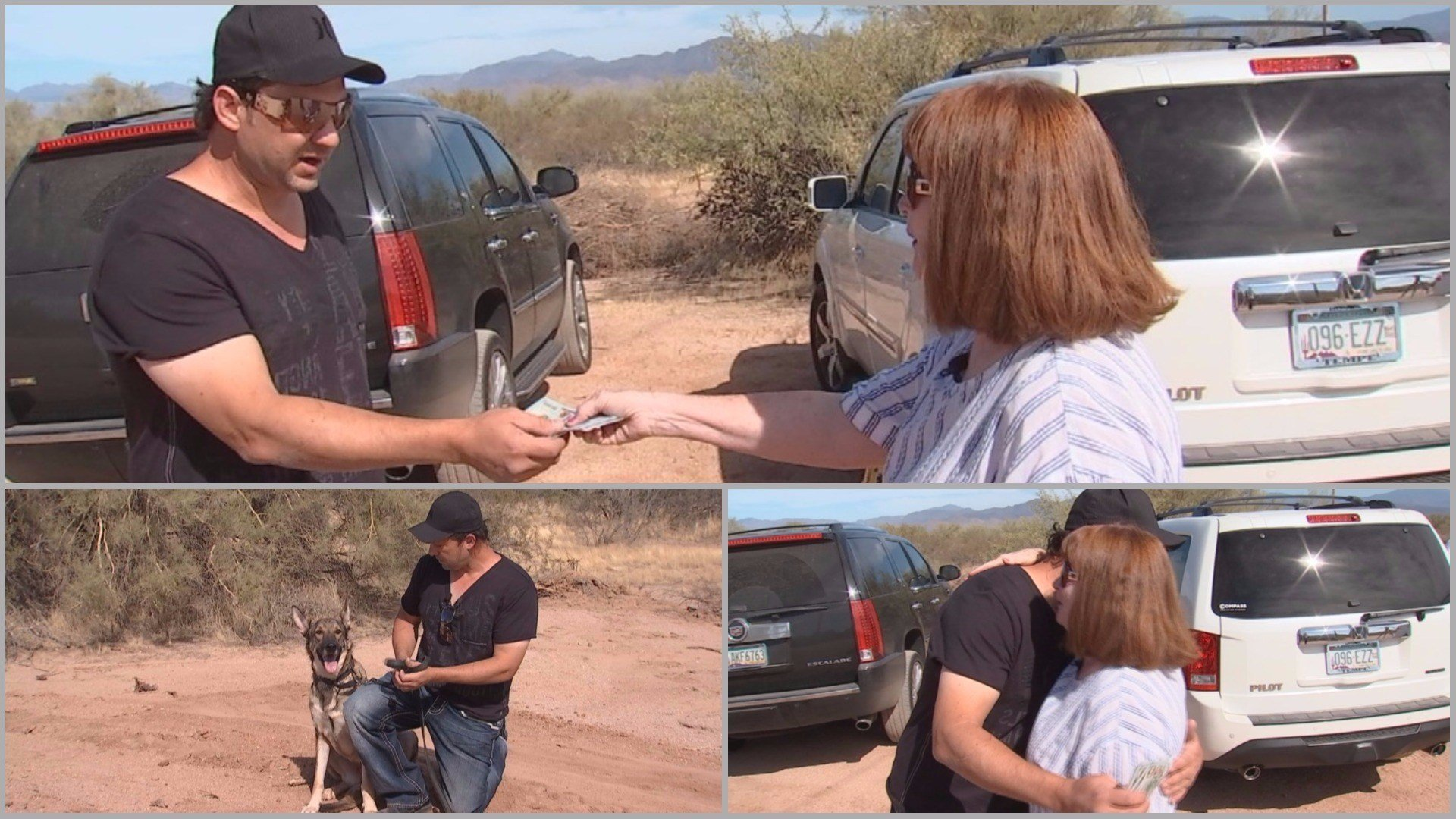 Bev Douwstra surprised Domenic Anthony with $500 from CBS 5's Pay It Forward. (Source: 3TV and CBS 5)