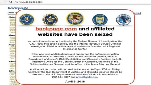 Classifieds website Backpage.com has been seized and shut down by the FBI. (Source: Backpage.com)