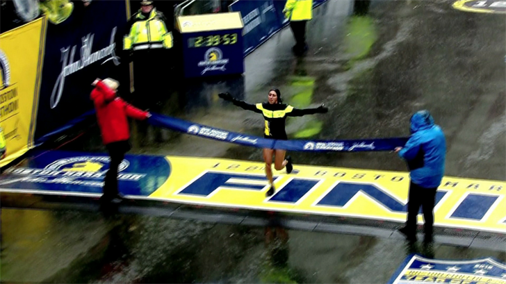 Desiree (Desi) Linden, a two-time Olympian, battled the rain and wind Monday to win the storied race. It's also the first win of the 34-year-old's career. (Source: CNN/WBZ)