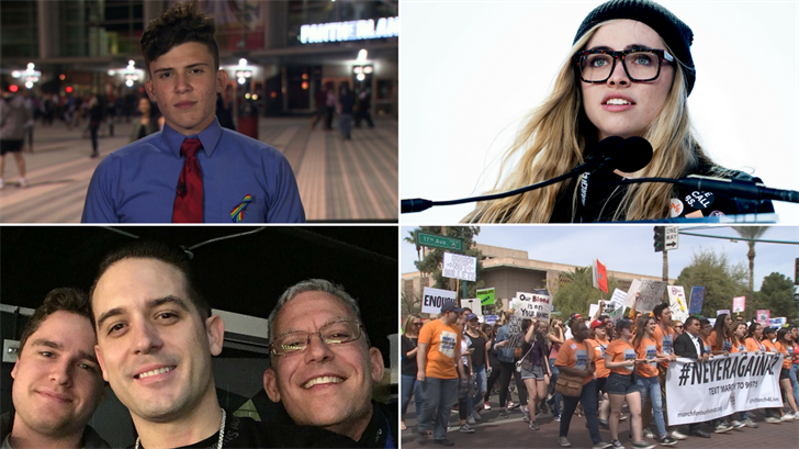 """Alfonso Calderon, Charlie Mirsky and Delaney Tarr of Marjory Stoneman Douglas High School are scheduled to speak at an after-school """"die-in"""" at the Capitol, according to organizers. (Source: CNN/AP/3TV/CBS 5)"""