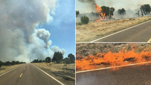 Multiple brush fires were together named the Highway 377 Fire. (Credit: Heber-Overgaard Fire Department)