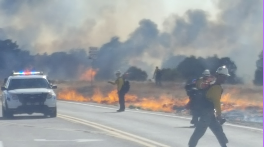 The Navajo County Sheriff's Office said a driver had a trailer dragging a tailgate along the State Route 377, which caused sparks to fly. (Source: Navajo County Sheriff's Office)