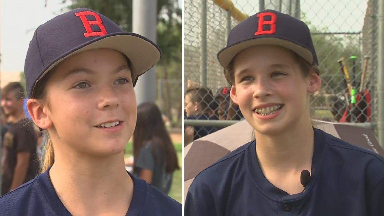 Savanna Creal and Deven Kircher became the first girls ever to make the Bogle Junior High School baseball team. (Source: 3TV/CBS 5)