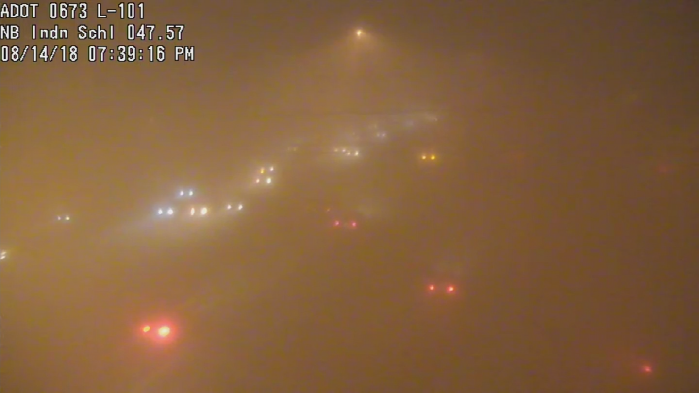 There was also practically zero visibility on the Loop 101 near Indian School Road in Scottsdale around 7:30 p.m. (Source: ADOT)